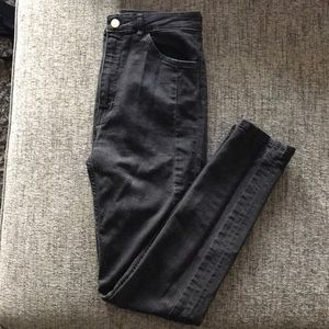 High rise black denim pants | 8 | H&M
